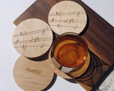 Wood Coasters - Engraved Wood Coasters - Birds on Wire - set of 4