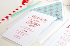 vintage New England wedding stationery sets the stage for a lobster feast and includes a real lobster bib save the date and cute lobster details