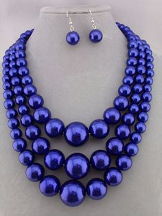 Three  Layer Blue Pearl Necklace Set Silver Fashion Jewelry NEW #SophiaCollection