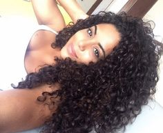 Natural long curly hair