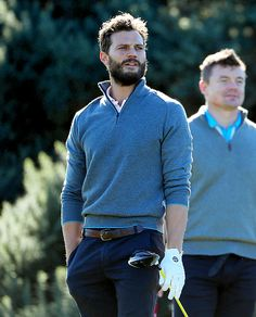Jamie Dornan plays a shot during a practice round at the Alfred Dunhill Links Championship at Kingsbarns Golf Links golf course on October 5, 2016 in St Andrews, Scotland.