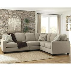 3-Piece Sectional with Left Loveseat in Neutral Gray | Nebraska Furniture Mart  On sale for $805.00