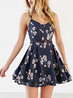Navy Blue Cross Strap Back Floral Skater Dress Dresses #Tops #Swimwear #Jeans #Jackets #Skirts #Shoes