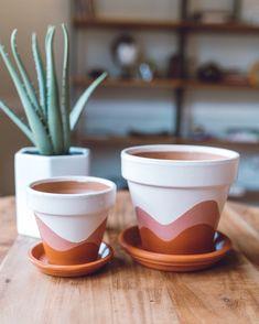 Warm Waves // Hand-Painted Terracotta Pot w/ Saucer Painted Plant Pots, Painted Flower Pots, Terracotta Pots, Terracotta Paint, Ceramic Pots, Diy Planters, Indoor Planters, Indoor Garden, Suculentas Diy