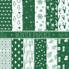 """Green digital paper : """"Green Winter Paper"""" Christmas digital paper with winter elements, winter backgrounds for scrapbooking, cards, invites"""