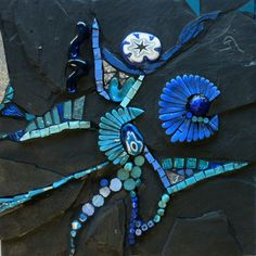 Broken Heart (2009) by Line Dauvergne of Caen, France   Materials: antique french slate, smalti colored mirror, moretti rods, millefiori, Italian cabochons, squiggles, and van gogh glass