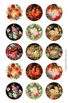 Digital Collage Sheet Decorative Russian by Templates4Sellers