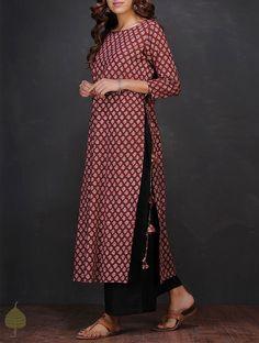 Buy Maroon White Block printed Boat Neck Cotton Kurta by Jaypore Women Kurtas Online at Jaypore.com