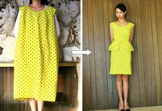 Life is Beautiful: DIY: thrift dress to origami peplum dress. Sarah is amazing in restyling old clothes. So much courage to start cutting your old clothes ; Thrift Store Outfits, Thrift Stores, Shop Goodwill, Diy Dress, Peplum Dress, Dress Ideas, Diy Fashion, Ideias Fashion, Dress Fashion