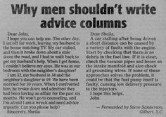 Funny pictures about Why men shouldn't write advice columns. Oh, and cool pics about Why men shouldn't write advice columns. Also, Why men shouldn't write advice columns. Baguio, Orange Power, Funny Headlines, Newspaper Headlines, Advice Columns, Funny Quotes, Funny Memes, It's Funny, That's Hilarious