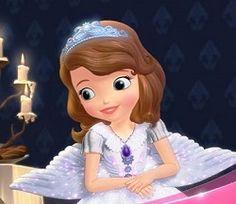 Prenses Sofia Alışveriş,Genellikle leylak renginde prenses elbisesini giyerElbisesi elmas ve incilerle süslüdür.Boynunda tılsımlı muska şeklinde bir k