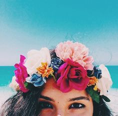 pinterest @lilyosm | i want to make this | flower crown tropical plants colorful ocean sky sun sand surf hawaii tumblr vibes