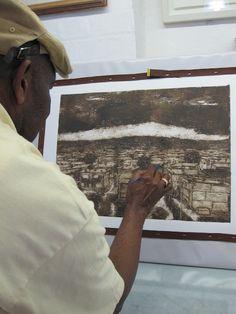 Vusi working into his Collograph Ap Art, Printmaking, Screen Printing, Studios, Captain Hat, Collage, Artist, Prints, Screen Printing Press