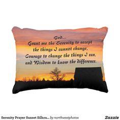 Serenity Prayer Sunset Silhouette Accent Pillow