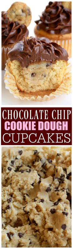 chocolate chip cookie dough I know. I just posted these Chocolate Chip Cookie Dough Stuffed Cupcakes but these are kind of like a sister to those. I love those cupca Baking Recipes, Cookie Recipes, Dessert Recipes, Baking Desserts, Baking Ideas, Just Desserts, Delicious Desserts, Yummy Food, Desserts Diy