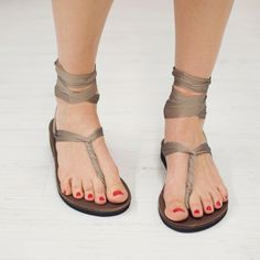 Taupe Chiffon Sandals. These sandals have loads of interchangeable ribbons and several ways to tie them