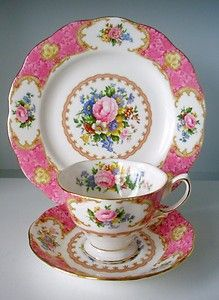 Ladies ~ this is my favorite tea set pattern.  I don't have any yet but someday!! ~ ROYAL ALBERT BONE CHINA Lady Carlyle TRIO Cup Saucer & Salad Plate