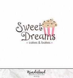 Pre-made Logo, Cake Logo, Bakery Logo, Baking Logo, Cake Decorating Logo, Pink and Brown Logo, Logo Design, Cupcake Logo, Logo
