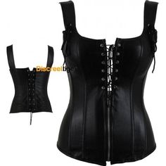 www.discreettiger.com.au Racy faux leather black corset. Sexy tie up and zipper combination on the front, and with the support of the wide straps makes this top appealing to all bust sizes. Made with soft yet comfortable man made leather, the corset has 10 strong yet flexible bones throughout to add structure and support. Great for a variety of body types. This corset can be worn with jeans, pants or a skirt and you won't look out of place wearing this at any occasion.