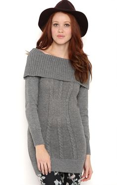 Deb Shops Long Sleeve Cable Knit Tunic Sweater with Marilyn Neckline $14.75