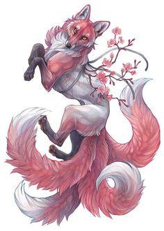 An print of a beautiful four tailed sakura themed kitsune fox. Mystical Animals, Mythical Creatures Art, Mythological Creatures, Magical Creatures, Fantasy Creatures, Cute Animal Drawings, Cute Drawings, Awesome Drawings, Horse Drawings