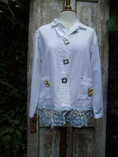 White Cotton Mix JacketClip Down by NineMusesofCrete on Etsy, $70.00