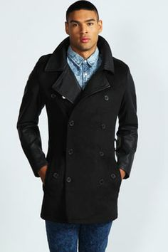 Military Coat with Leather Look Sleeves at boohoo.com