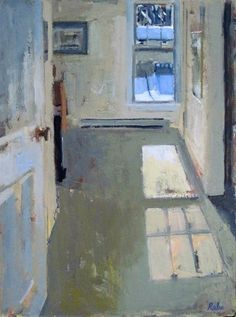 """Oil of an interior - a recent obsession. Carole Rabe, Blue Window, oil on canvas, 24"""" x 18"""""""