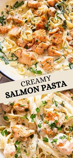 Salmon Pasta Recipes, Creamy Salmon Pasta, Fish Recipes, Seafood Recipes, Dinner Recipes, Cooking Recipes, Healthy Recipes, Fish Dishes, Seafood Dishes