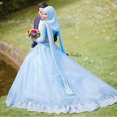 Blue dress Muslim wedding - About Wedding Muslim Wedding Gown, Wedding Hijab, Muslim Dress, Wedding Gowns, Wedding Purse, Wedding Cakes, Hijab Bride, Pink Wedding Dresses, Man Fashion