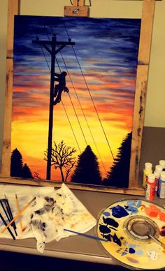 "Pinner wrote, ""Lineman painting I did for my boyfriend's birthday! Lineman Gifts, Nifty Crafts, Paint Party, Diy Art, Art Inspo, Painting & Drawing, Watercolor Art, Bird Paintings, Acrylic Paintings"