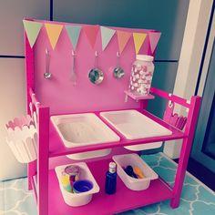 DIY Matschküche, Mud Kitchen, IKEA Ivar Mud Kitchen For Kids, Diy Kitchen, Ikea, Diy For Kids, Toddler Bed, Backyard, Furniture, Balcony, Home Decor