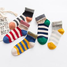 5 Pairs Women Cotton Crew Socks with Striped Pattern Soft Casual Socks(US Size … * You can find out more details at the link of the image. (This is an affiliate link) Nylons, Cheap Socks, Colorful Socks, No Show Socks, Cat Pattern, Fashion Socks, Aliexpress, Fashion Brands, Casual