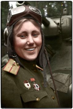 Lt. Aleksandra Samusenko, a Soviet Ukrainian commander of a T-34 tank and a liaison officer during World War II. She was the only female tank-man/person) in the 1st Guards Tank Army. 1943