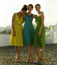 green, yellow & blue bridesmaid dresses