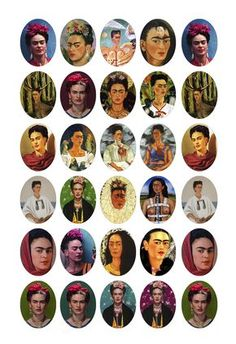 Everyone that signed up for the Viva La Frida Craft Swap has been paired up and many have already started creating their Frida Kahlo inspir. Bottle Cap Art, Bottle Cap Crafts, Bottle Cap Images, Free Collage, Digital Collage, Digital Papers, Bordado Popular, Kahlo Paintings, Frida Art