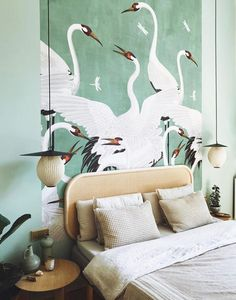green bird print wallpaper mural. / sfgirlbybay