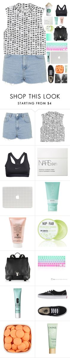 """Letters"" by dianechavvvv ❤ liked on Polyvore featuring Topshop, Monki, NIKE, NARS Cosmetics, KORA Organics by Miranda Kerr, Sisley Paris, Nip+Fab, Proenza Schouler, Clinique and Vans"