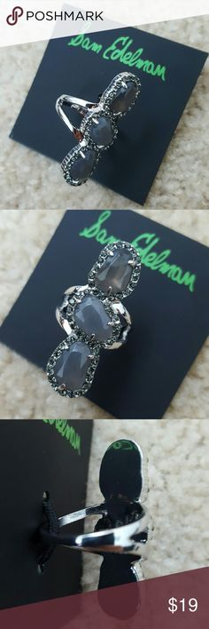 Sam Edelman Statement Ring Gorgeous Sam Edelman statement ring with three grey stones set with grey rhinestones all around them. Silvertone metal.  1.5 inch by 0.5 inch.  Size 7 Sam Edelman Jewelry Rings