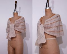 1950s cream gold shawl / Vintage 50s wool nylon knit by Ainshent, $39.00