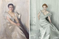 Anders Zorn ,Frances Folsom Cleveland,  1899.  On the right, Jessica Chastain by Annie Leibovitz
