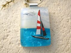 Sailboat Sailing Necklace  Dichroic Glass Jewelry  by ccvalenzo, $26.00