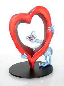 MISSING YOU LOTS CAT & HEART ROMANCE STATUE SCULPTURE CARTOONIST TONY FERNANDES