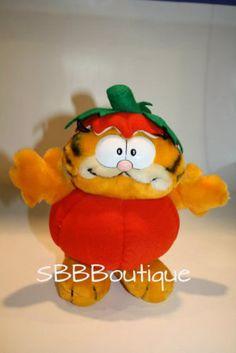 "9"" Dakin VTG 1981 Plush Garfield Cat in the Pumpkin Patch Stuffed Halloween Toy"