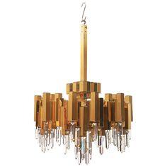 Sciolari Brass and Crystal Chandelier Luxury Chandelier, Chandelier Pendant Lights, Modern Chandelier, Crystal Ceiling Light, Lamp Light, Ceiling Lamp, Ceiling Lights, Element Lighting, Geometric Lamp