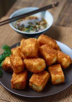 Fried Tofu with Sesame-Soy Dipping Sauce, easily veganized (try Ener-G egg replacer)