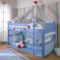 The designer mid sleeper bed in a sailboat theme for your son will provide hours of play and soothing sleep. Montessori Baby, Big Boy Bedrooms, Kids Bedroom, Design Ikea, Ikea Kura Bed, Mid Sleeper Bed, Best Interior Design, Baby Furniture, Kid Spaces