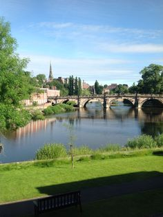 The English Bridge, Shrewsbury.  View from bedroom 06.00 fine summers morning 2014.