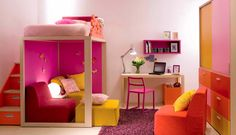 What a cool room! this is exactley what I want my sons room too look like when we move out except change all the pink to green