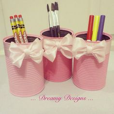 Recycled pencil pen brush holder set of 3 by Dreamydesigns01
